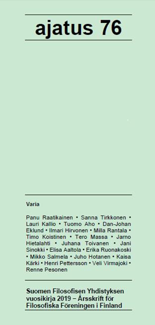 Vol 76 Nro 1 (2019): Ajatus 76
