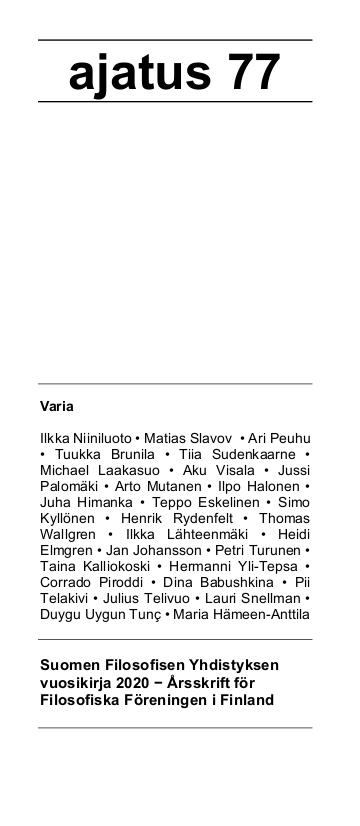 Vol 77 Nro 1 (2020): Ajatus 77