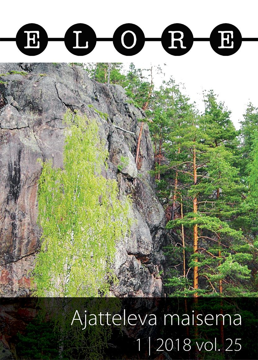 Astuvansalmen kalliomaalausten yllä kohoaa kallioon piirtynyt ihmiskasvojen profiili. Kuva Ohto Kokko. CC BY-SA 3.0