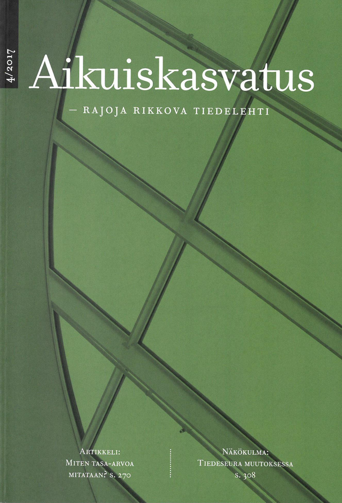 Vihreä kansi Aikuiskasvatus 4/2017, Rajoja rikkova tiedelehti