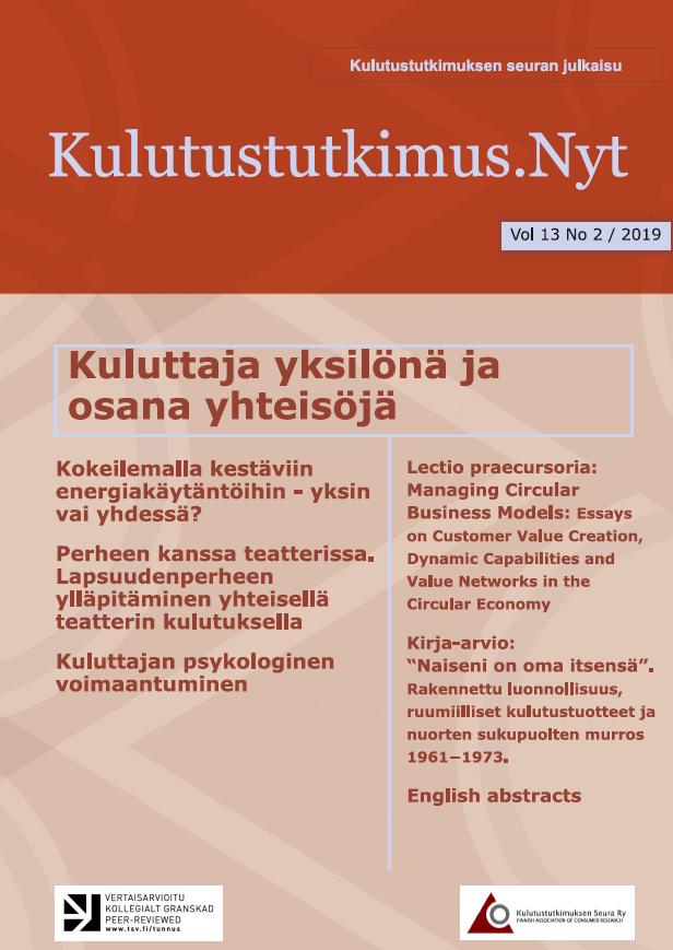 Vol 13 Nro 2 (2019): Kulutustutkimus.Nyt 2/2019