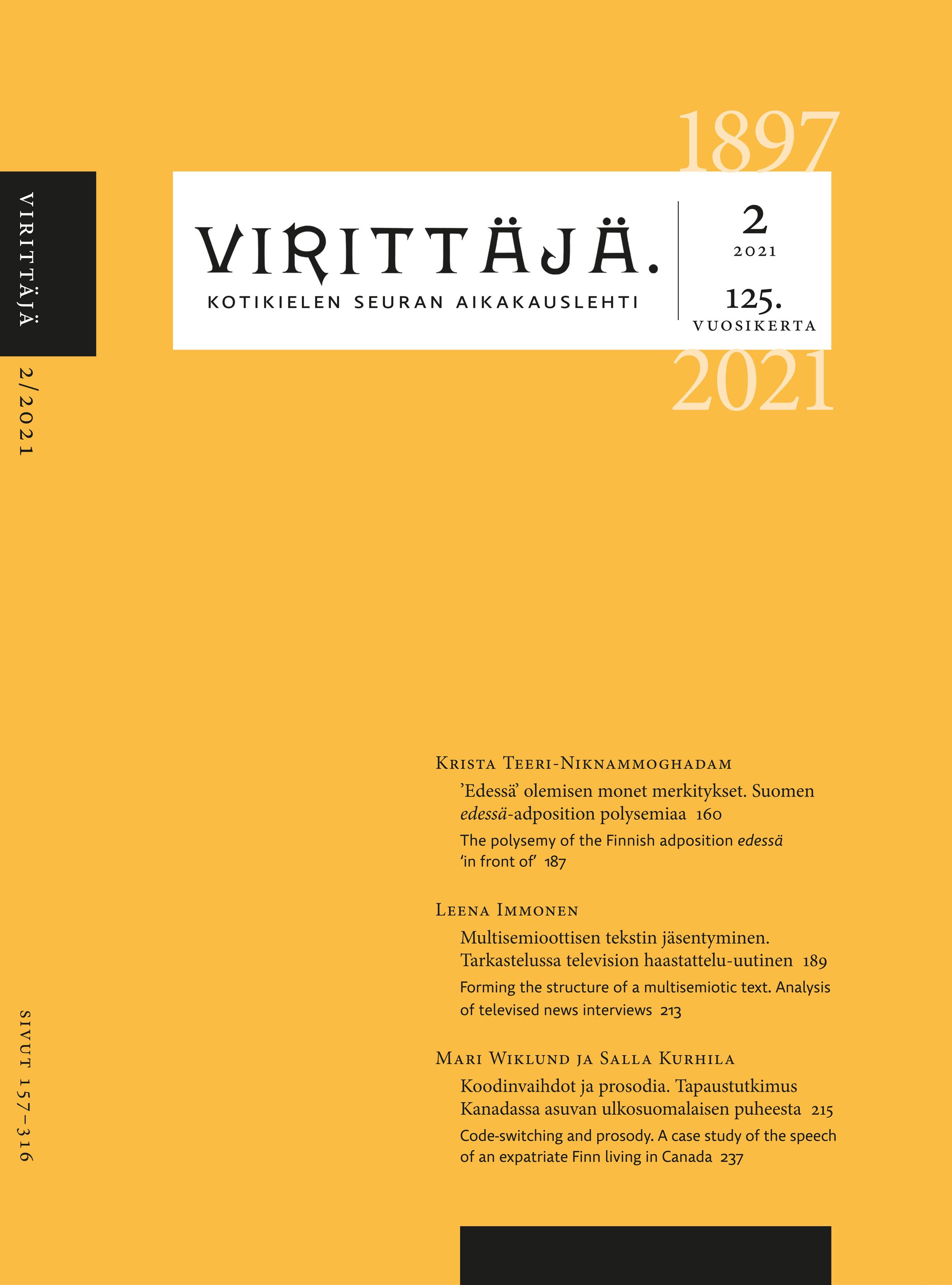 Näytä Vol 125 Nro 2 (2021)