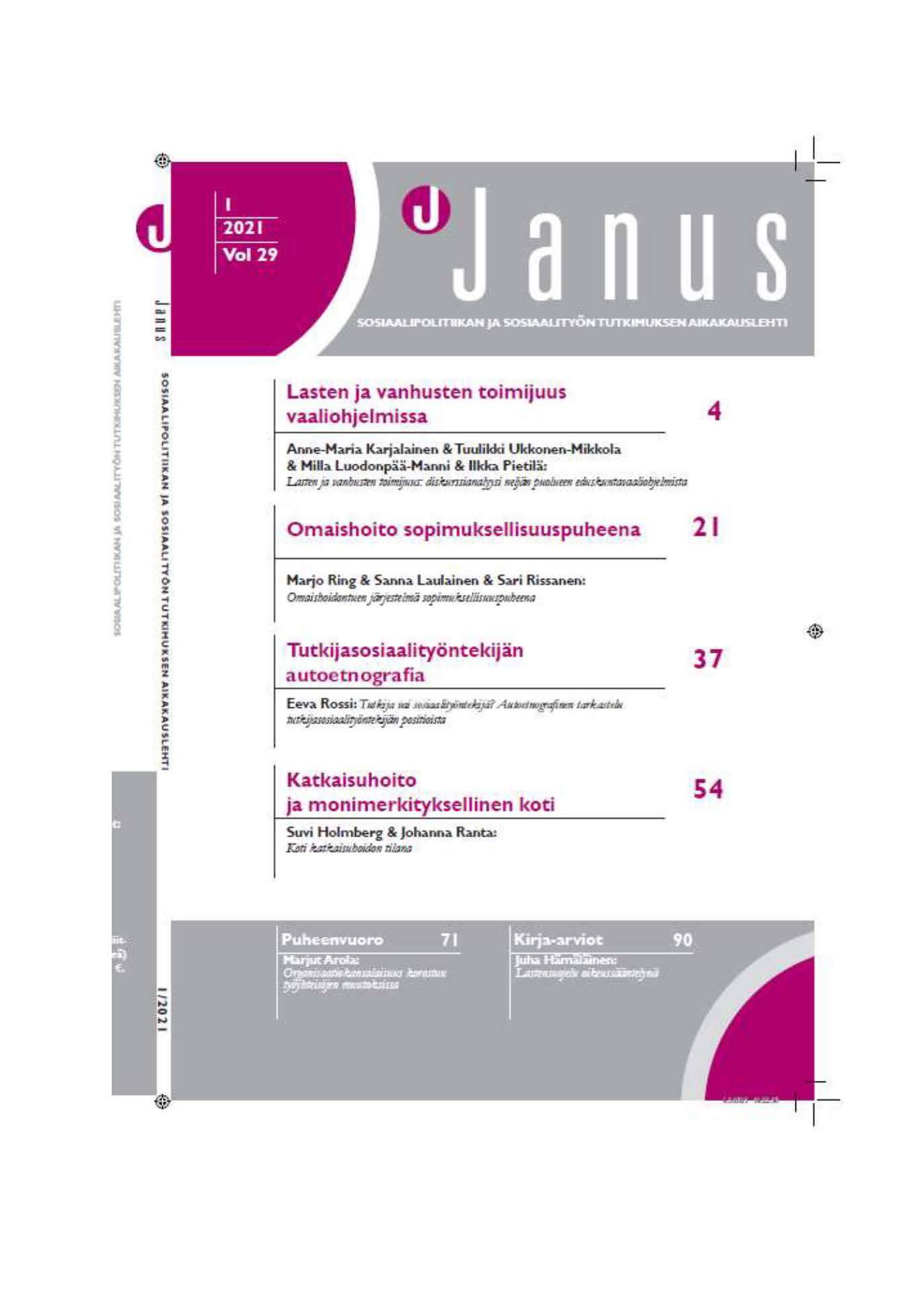 Janus kansilehti 1/2021
