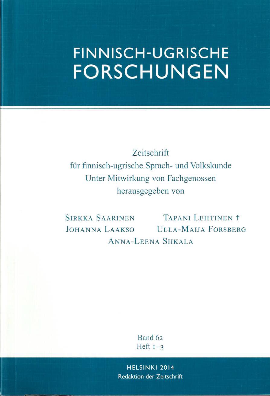 View Vol. 2014 No. 62 (2014): Finnisch-Ugrische Forschungen 62