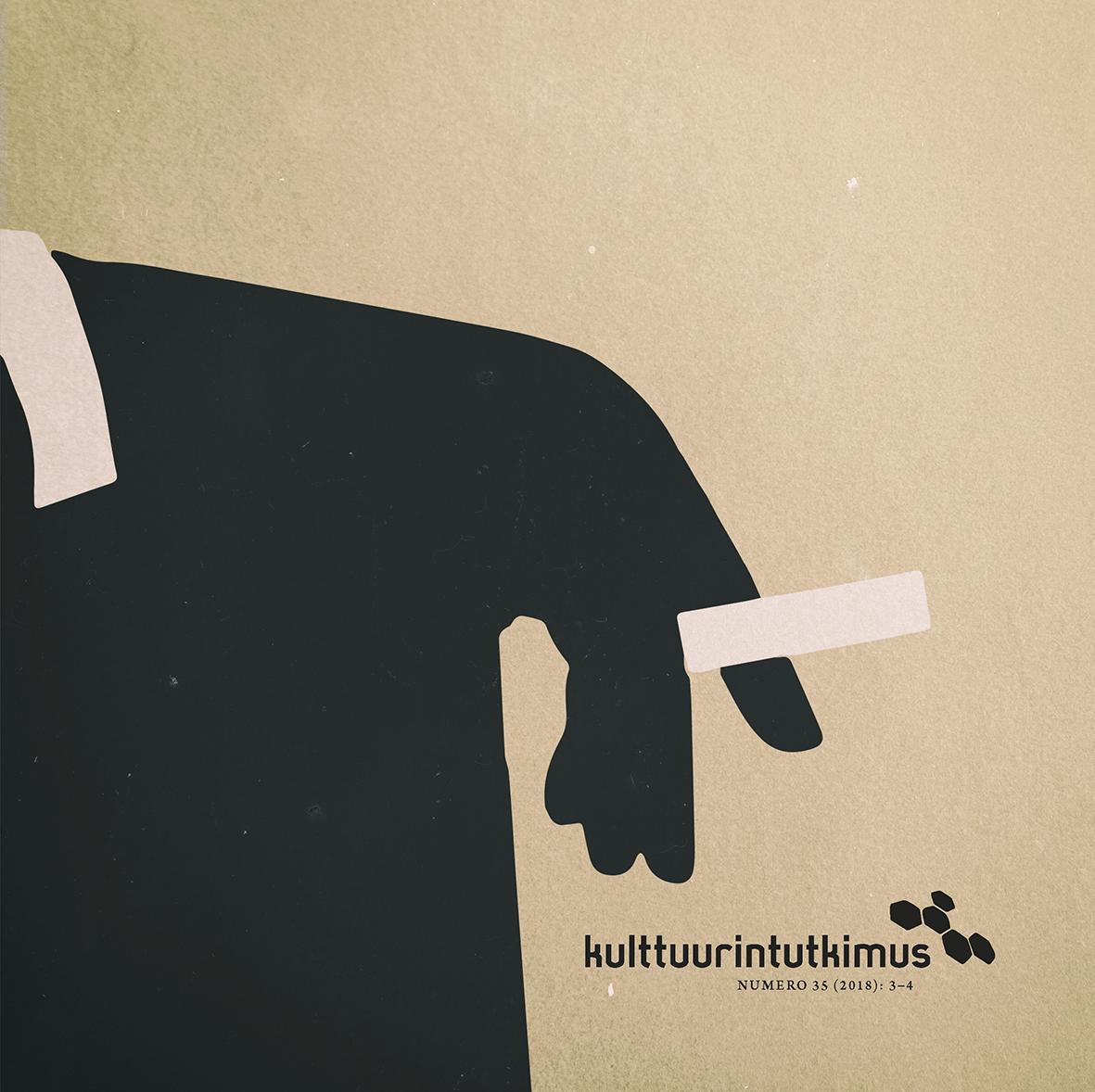Tyylitelty kuva savuketta pitelevästä pukumiehestä.